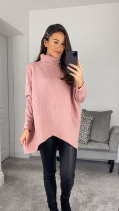 Oversized Jumper, Ribbed Fabric, Winter Looks, Strappy Heels, Nice Tops, Pink Color, Blush Pink, Midi Skirt, Girly