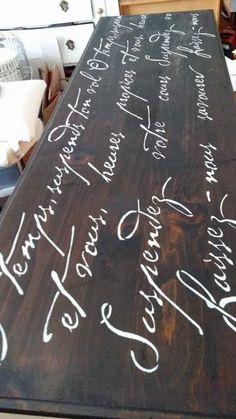 Stenciling a dresser using the French Poem Stencil, a popular typography pattern, from Cutting Edge Stencils. http://www.cuttingedgestencils.com/french-poem-diy-craft-stencil-design.html