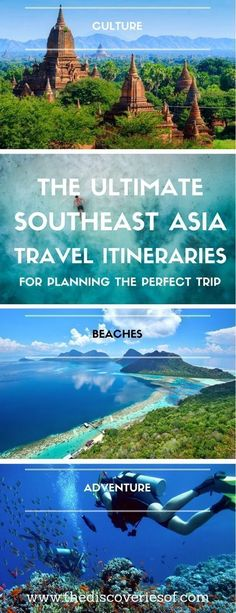 Three awesome Southeast Asia travel itineraries to help you plan the perfect trip. Read the full travel guide now #travel #backpacking Photography I Itinerary I Landscape I Food I Architecture I Laos I Thailand I Cambodia I Myanmar I Malaysia I Vietnam. #southeastasiatravel #vietnamtravel #asiatravel #thailandtravel