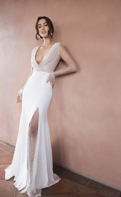 A handpicked collection of rare, sought-after wedding dresses for the modern rom. - A handpicked collection of rare, sought-after wedding dresses for the modern romantic looking to ca - After Wedding Dress, Amazing Wedding Dress, Best Wedding Dresses, Unique Dresses, Boho Wedding Dress, Designer Wedding Dresses, Bridal Dresses, Lace Wedding, Wedding Dresses With Slit