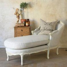Eloquence Louis Linen Chaise Antique White