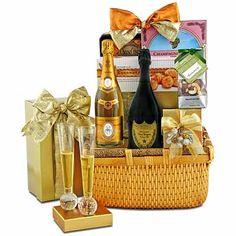 Cristal & Dom Pérignon Champagne - Gourmet Gift Baskets For All Occasions Champagne Gift Baskets, Wine Cookies, Champagne Flutes, Crystal Champagne, Dom Perignon, Sweet Butter, Gourmet Gift Baskets, Handmade Chocolates, Honey Colour