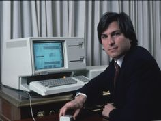 Apple Computer Chrmn. Steve Jobs with New Lisa Computer During Press Preview Premium Photographic Print