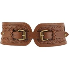Woven Elastic Belt (12 AUD) ❤ liked on Polyvore featuring accessories, belts, brown, women, forever 21, double buckle belt, braided stretch belt, brown belt and wide belt