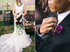 Cascading romantic bridal bouquet & purple boutonniere by EightTreeStreet   Romantic & elegant, deep red berry & burgundy winery wedding inspiration & details   Images: Bonnie Sen Creative