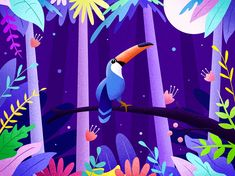 Rainforest designed by Jason Wong for DCU. Connect with them on Dribbble; the global community for designers and creative professionals. Flat Design Illustration, Plant Illustration, Landscape Illustration, Graphic Illustration, Graphic Art, Fantasy Illustration, Digital Illustration, Illustrations Posters, Animal Illustrations