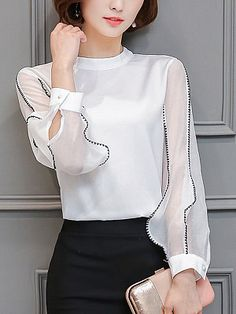 Chic Band Collar Contrast Stitching Hollow Out Blouse - Look Fashion Womens Fashion For Work, Work Fashion, Fashion Outfits, Fashion Trends, Fashion Blouses, Fashion Women, Fashion 2018, Fashion Ideas, Cheap Fashion