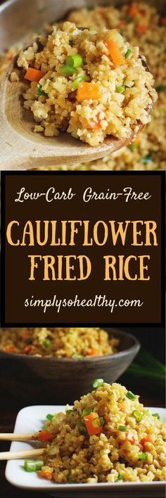 This Easy Low-Carb Cauliflower Fried Rice Recipe can be made in less than 15 minutes! It can be served by itself as a quick lunch or as a side dish. This recipe can be part of a low-carb keto gluten-free dairy free Atkins Paleo or Banting diet. Low Carb Keto, Low Carb Recipes, Diet Recipes, Vegetarian Recipes, Cooking Recipes, Healthy Recipes, Recipies, Dairy Free Keto Recipes, Dessert Recipes