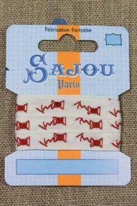 Baumwollband 11 mm - Rote Garnspulen auf Ecru