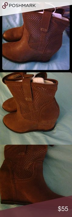 "Sole Society Leather Wedge Ankle Boots Beautiful Cognac colored perforated hidden wedge ankle boots by Sole Society.  Super stylish with a hint of slouch.  3"" heel. 7.5"" boot shaft; 12"" calf circumference.  Pull on style.  Size 8.5 Sole Society Shoes Ankle Boots & Booties"