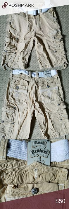 Rock Revival 34 Khaki shorts with belt included. Worn a few times. A few stones missing on belt. Rock Revival Shorts Cargo