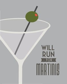 Run for Martinis  Retro Typography Running or by StephLawsonDesign, $15.00