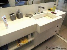 cuba moldada em quartzostone branco - alternativa para o lavabo