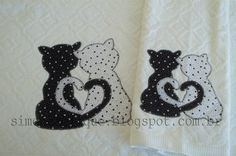 Faço trabalhos artesanais em toalhas, fraldas, camisetas, panos de prato, etc... Cat Applique, Applique Patterns, Applique Quilts, Applique Designs, Patch Quilt, Applique Tutorial, Frantic Stamper, Sewing Appliques, Penny Rugs