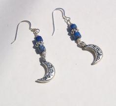 Lapis Lazuli Silver Moon and Star Heishe Earrings, via Etsy.