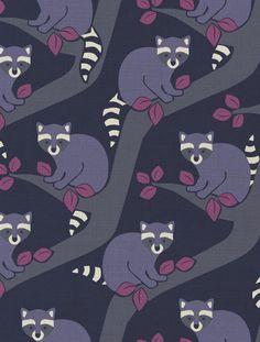 Raccoons Designer Fabric by Aimée Wilder. Sold by the yard. Materials: 100% Cotton Sailcloth, Fine Belgian 50/50 Linen/Cotton Blend, 100% Belgian Linen, or 100% Organic Cotton Denim Length*: 1 yard (9