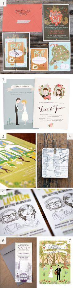 Custom wedding illustrations - invites, favors, programs, etc