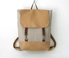 Gray canvas, camel flap  Backpack , laptop bag, diaper bag with leather closure and 2 front pockets, Design by BagyBags