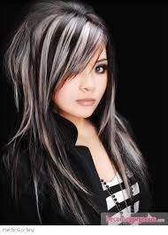white streaks in black hair - Google Search