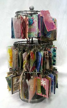Display carousel of ATCs collected by Judy Gula of Artistic Artifacts