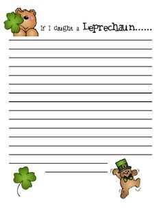 """Holiday Paper...--would make a cute bulletin board as well with a green background and """"If I Caught a Leprechaun..."""" as the title."""
