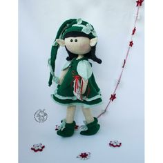 Elf doll knitted flat Knitting pattern by Boucle Yarn, Elf Doll, Christmas Knitting Patterns, Halloween Books, Lang Yarns, Plymouth Yarn, Cascade Yarn, Paintbox Yarn, Dog Sweaters