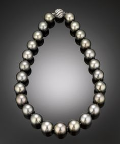 Black Pearl Necklace, Tahitian Pearl Jewelry ~ M.S. Rau Antiques Simply gorgeous!-:}