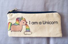 Handmade canvas pencil case with unicorn print from tumblr #DIY Unicorn Diys, I Am A Unicorn, Unicorn Print, Unicorn Pencil Case, Diy Pencil Case, Pencil Cases, Stationary Notebook, Our Generation Dolls, School Supplies