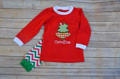 Monogrammed Applique Chevron Childrens Christmas Pajamas by MaxJBoutique on Etsy https://www.etsy.com/listing/208018345/monogrammed-applique-chevron-childrens