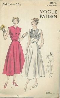 An unused original ca. 1948 Vogue Pattern 6454.  One-Piece Dress. Four-Piece Circular skirt joins blouse at waist-line. Blouse front plain or tucked above shaped mid-section. Buttoned closing below small shaped collar. Deep arm-holes finished with extension bands.