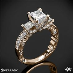 Verragio Bead-Set Princess 3 Stone Engagement Ring. Intricate bands are more my thing than the actual size of the diamond