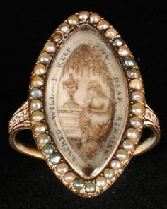 Ring; Mourning, 14K Gold, Navette Shape, Seed Pearls, Ink on Ivory Image,  c.1792.