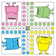 Thema Het kleurenmonster: Gecijferdheid - Google Foto's Social Emotional Activities, Math Activities, Childhood Education, Kids Education, Primary Education, Dyslexia Teaching, Class Dojo, Paper Games, School Games