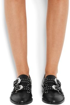 Givenchy | Studded brogues in black leather | NET-A-PORTER.COM