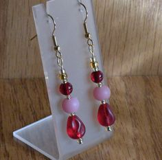 Red Glass & Pink Frosted Glass Handmade Dangle by AnotherOriginal