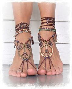 Reserved . PEACE sign BAREFOOT sandals Earthy Gypsy by GPyoga, $83.00