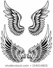 Buy Wings Set Vector by vectorfreak on GraphicRiver. fully editable vector illustration (editable EPS) of wings set on isolated white background, image suitable for desig. Body Art Tattoos, Sleeve Tattoos, Tatoos, Dossier Photo, Tattoo Posters, Wing Tattoo Designs, Wings Drawing, Eagle Art, Black Angels