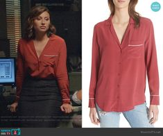 Peyton's red button down with piping on iZombie Izombie Tv Series, Fashion Tv, Fashion Outfits, Aly Michalka, Red Button, Other Outfits, Work Clothes, Printed Blouse, Cashmere Sweaters