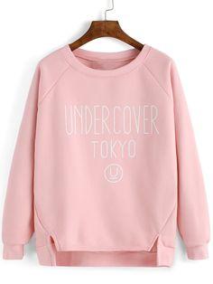 Pink Letter Print Slit High Low Sweatshirt -SheIn(abaday)