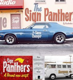 Sign Panthers Bold Its a sans-serif font with sign painting style hand lettering. Great for the headlines of your brand promotions or marketing branding tools. Sign Panthers Script a dynamic-duo, for the Sign Panthers Bold font. Because two is better than one. Free for download. For personal use. File format: .otf, .ttf, .woff, .woff2 for Photoshop or other software. File size: 1 Mb.