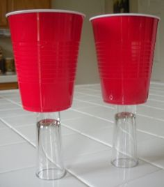 White trash wine glasses made using red Solo cups and shot glasses!