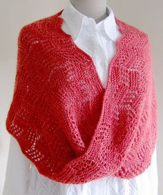 Free Knitting Pattern for Topsy Turvy Moebius -Lace wrap with a Moebius twist and an unusual lace pattern that also be worn like an infinity scarf cowl. Designed by The Rainey Sisters.