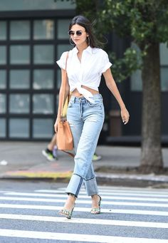 Victoria Justice Found the Perfect Way to Wear Jeans and Heels via @WhoWhatWear