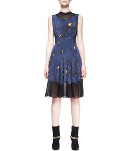 Pleated Mesh-Inset Printed Dress by 3.1 Phillip Lim at Bergdorf Goodman.