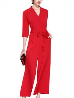 950346a8499 Red Wrap Front High Waist Jumpsuit