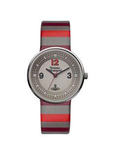 Womens Red & Grey Stripe Watch by Vivienne Westwood