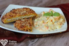 Chrumkavé pečené rezne a zemiakový šalát Eating Well, Salmon Burgers, Grains, Salads, Rice, Meat, Chicken, Cooking, Breakfast