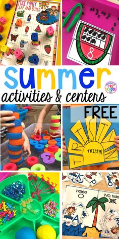 Sun name FREEBIE plus tons Summer themed activities for every center in the classroom (math library writing letters sensory art blocks fine motor word work). Preschool pre-k kinder kiddos will LOVE them! Summer Preschool Themes, Summer School Activities, Kindergarten Activities, Toddler Preschool, Learning Activities, Preschool Activities, Summer Activities For Preschoolers, Kindergarten Schedule, Math Literacy