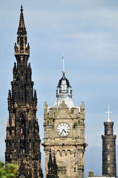 Spires in Edinburgh. In order Walter Scott monument, The Balmoral Hotel, Nelson's Monument