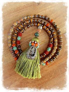 GANESHA Mala necklace long Tiger Eye beaded TASSEL by GPyoga